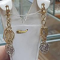 Серьги лимоные дутые белое и лимоное золото цепочка на стильном замке вес 6.08 грамм
