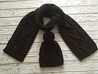 Мужской вязаный шарф и шапка с помпоном