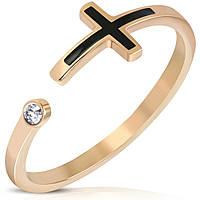 Женское кольцо с крестиком и фианитом