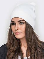 Женская шапочка с ушками  белый  ОСЕНЬ - ЗИМА