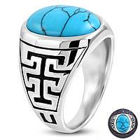 Коктейльное кольцо с бирюзой, фото 1