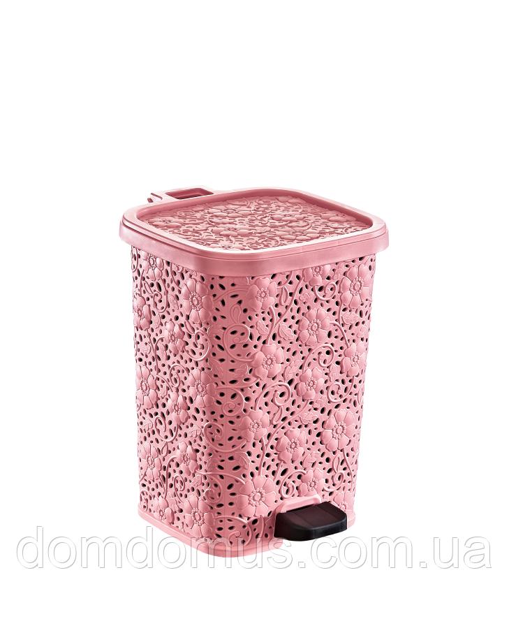 """Відро ажурна з педаллю """"Мотив"""" 12 л Dunya Plastik, Туреччина, рожеве"""