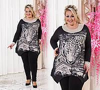 """Женская стильная тёплая туника в больших размерах 3827 """"Леопард"""""""
