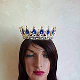 Круглая корона в золоте с синими камнями,  высота 5,5 см., фото 2