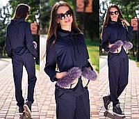 Женский спортивный костюм с натуральным мехом