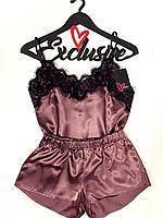 Женская пижама Exclusive с кружевом, атласная пижама: маечка и шортики в комплекте. Разные цвета, размеры., фото 1