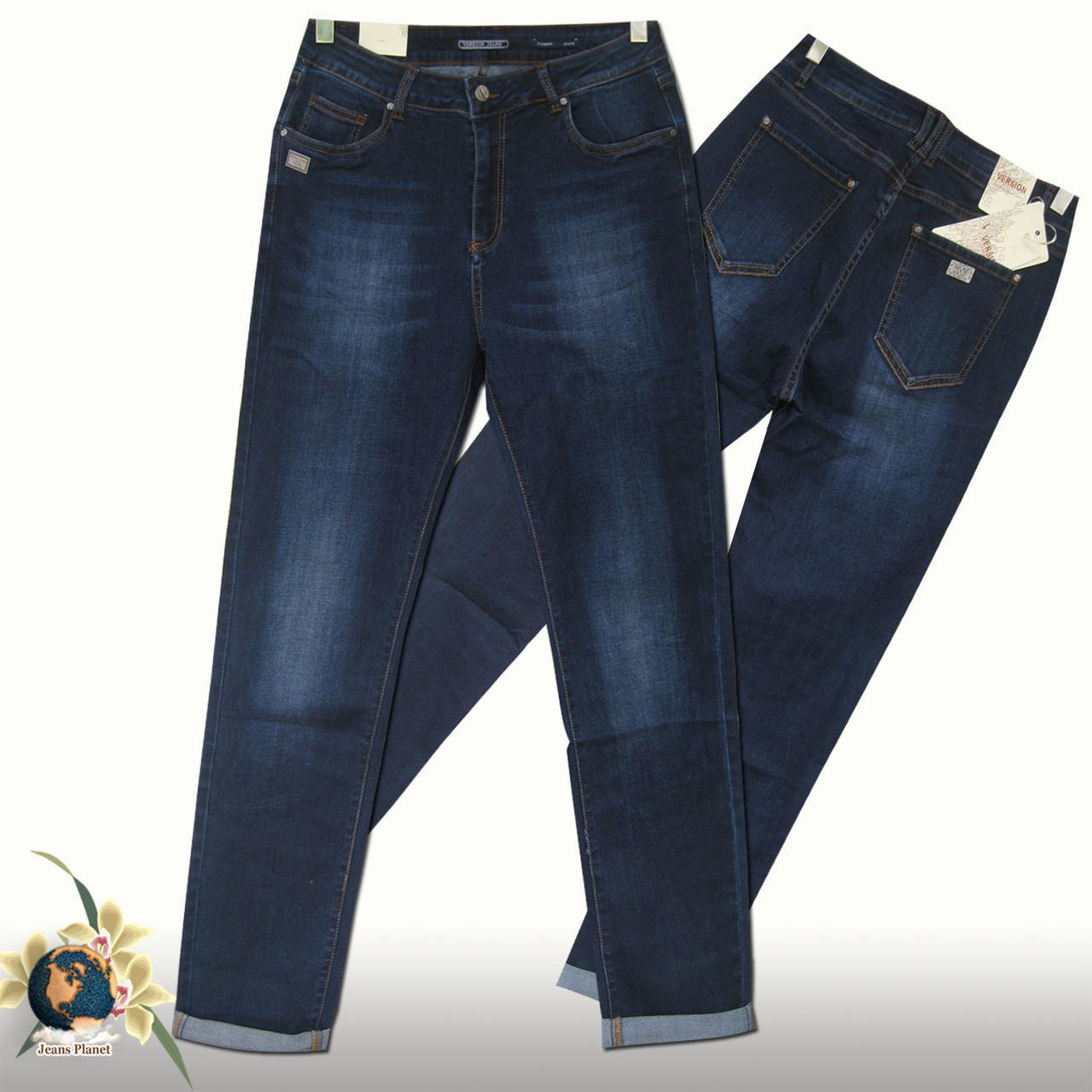 79a7baeb977 Джинсы женские высокой посадкой Version батал тёмно-синего цвета - Jeans  Planet -джинсовая одежда