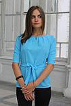 """Блузка женская с поясом однотонная голубая """"Ирма"""" , фото 2"""