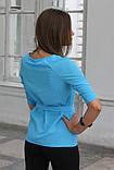 """Блузка женская с поясом однотонная голубая """"Ирма"""" , фото 3"""