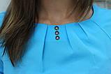 """Блузка женская с поясом однотонная голубая """"Ирма"""" , фото 4"""