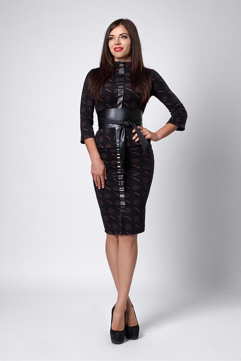 Деловой женский костюм с поясом Версаче, черный
