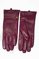 Женские кожаные перчатки бордового цвета