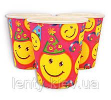Стаканчики детские бумажные одноразовые с рисунком (250мл. 10 шт./уп.) -   Смайлики, Разные цвета