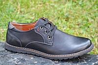 Туфли мужские на шнурках искусственная кожа черные удобная подошва 2017