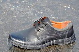 Туфли мужские на шнурках искусственная кожа черные удобные, прошиты 2017. (Код: 876)