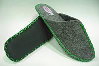 Домашние тапочки мужские из войлока с зелёным шнурком