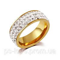 Женское  кольцо из ювелирной стали Swarovski Elements позолота