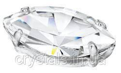 Лодочки в цапах Preciosa (Чехия) 10x5 мм Crystal/серебро