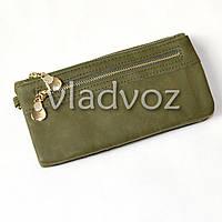 Модный женский кошелек клатч бумажник органайзер для телефона карточек денег темно зел.