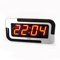 Часы сетевые настенные VST 739-1 красный, часы электронные для дома, часы настенные электронные