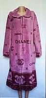 Женский халат на молнии 52-62 р. с принтом Шанель