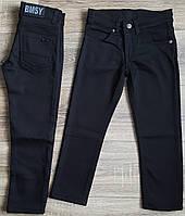 Штаны,джинсы на флисе для мальчика 7-11 лет(черные)(розн)пр.Турция