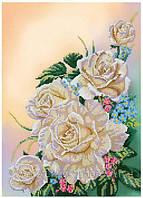 """Схема для часткової вишивки бісером """" Білі троянди """" М-34"""