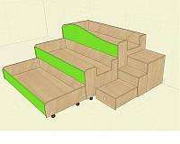 Кровать детская-трансформер 140х60 см. Трехместная, С приставной лестницей 65х40х50 см.