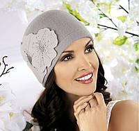 Женская шерстяная шапка с яркими маками Ines от Willi Польша