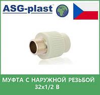 муфта с наружной  резьбой 32х1/2 в asg plast чехия