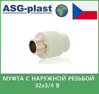 муфта с наружной  резьбой 32х3/4 в asg plast чехия