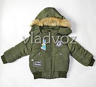 Демисезонная куртка для мальчика утепленная хаки V 1-2 года
