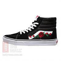 Кеды Vans SK-8 Черно-Белые Roses Custom 35-44.5 рр