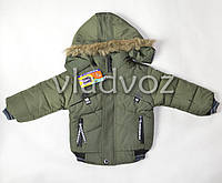 Демисезонная куртка для мальчика утепленная хаки M 3-4 года