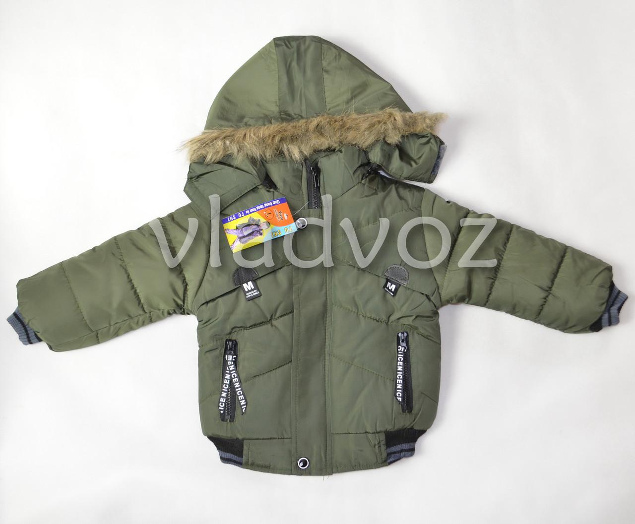 Демисезонная куртка для мальчика утепленная хаки M 1-2 года