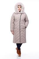 Комфортное зимнее пальто с мехом песца Пуховик Все размеры