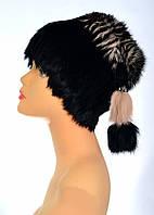 Женская шапка из меха кролика на трикотаже.кубанка
