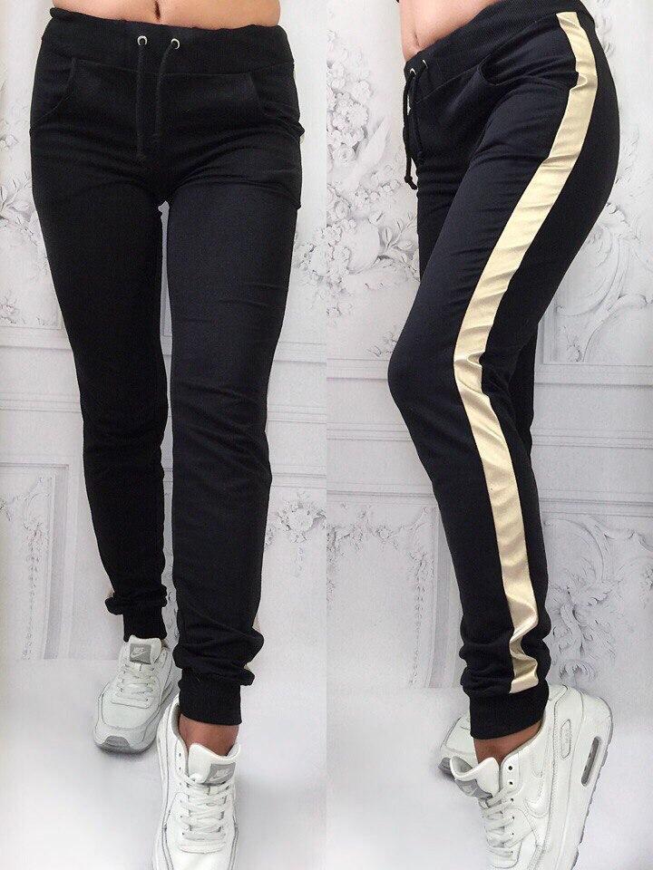 e5cef0944958 Женские черные спорт штаны с лампасами S-M-L -