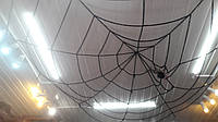 Паутина черная на потолок 4,5 м - декор на Хэллоуин (12 кругов)