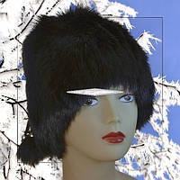 Женская шапка из меха кролика на трикотаже.