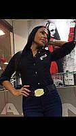 Блузка-Рубашка женская Офисная Черная (S) Бренд Котон