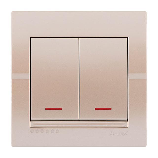 Выключатель с подсветкой Lezard Deriy Жемчужно-белый металлик 702-3030-112