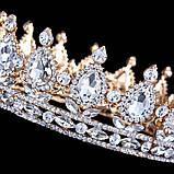 Корона круглая под золото с прозрачными камнями, диадема, тиара, высота 5,5 см., фото 2
