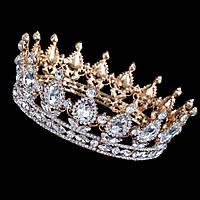 Корона круглая под золото с прозрачными камнями, диадема, тиара, высота 5,5 см.