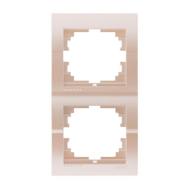 Lezard Deriy Рамка двойная вертикальная Жемчужно-белый металлик