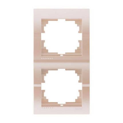 Lezard Deriy Рамка двойная вертикальная Жемчужно-белый металлик, фото 2
