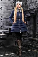 Модная зимняя куртка расклешенная с поясом и опушкой 42-48 размера, фото 1