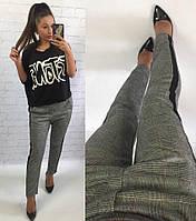 Женские укороченные брюки с лампасам