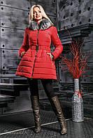 Модная зимняя куртка расклешенная с поясом и опушкой 42-48 размера