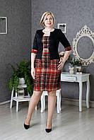 Деловое женское платье-костюм р.48-54 клетка V276-04
